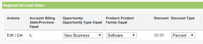 In this example pricing rule, any account in Illinois that is part of a New Business opportunity type containing a product in the Software product family will receive a 25% discount.