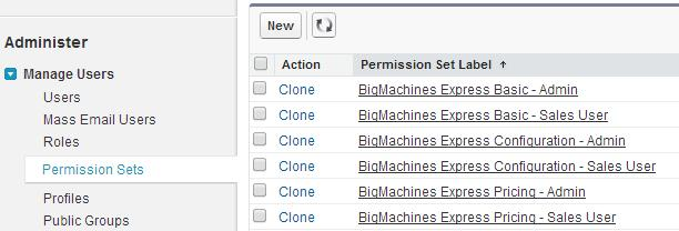 UPDATING PERMISSION SETS After updating BigMachines Express administrators must take the following steps to add the new metadata to any custom permission sets.