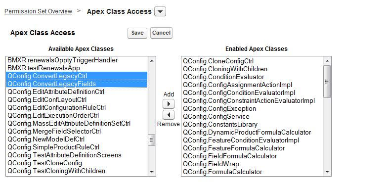 STEP 6: Return to the Permission Set overview page (see Step 3). Select Apex Class Access. Click Edit. Select the Apex classes which belong to the module associated with this permission set.