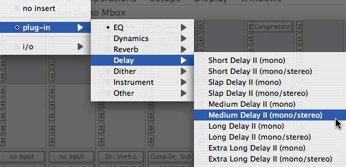 3 Click Save. Selecting Fader Gain when Opening a Previously Recorded Session Plug-In Menus by Category In Pro Tools 6.4, plug-ins are automatically organized by category (effect type).