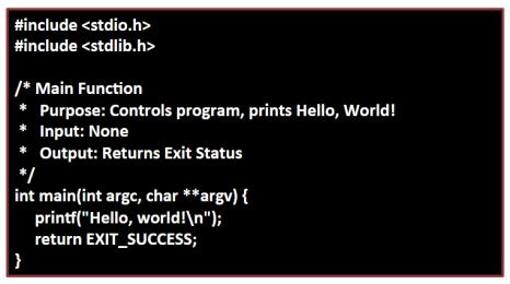"main() main function, where execution begins { } curly braces are equivalent to stating ""block begin"" and ""block end the code in between is called a block printf() the actual print statement return 0"