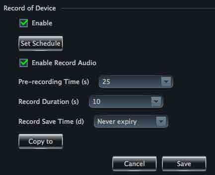 Xcel CMS User Manual 11 Record Settings Click Record Settings to enter the interface as shown on the right.