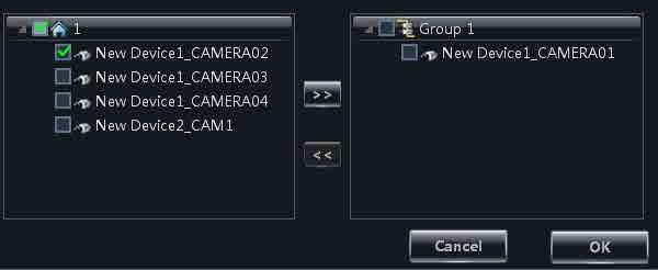 Xcel CMS User Manual 16 4.2 Add or Remove the Camera Group 1 Select a group and click button to enter the interface.