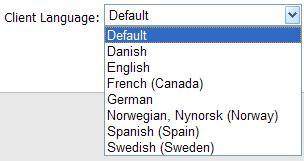 1.2.2 Client Language The Client Language option allows the user to select the language in which the client functionality is displayed.