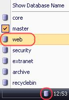 The Web database will become active. Open the Content Editor and access the content folder.