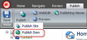 If the desired item is missing, try the following: Try to publish one particular item.