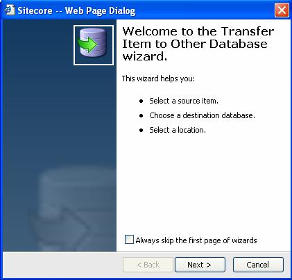 The wizard walks through the process of copying the item to the Web database.