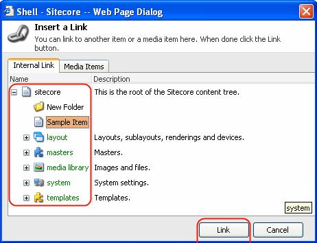 Select the Insert Link button available in the upper toolbar and the Insert a Link dialog will appear.