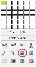 You may also click the Insert Table button available on the upper toolbar and select the Merge Cells Horizontally button from the Table Wizard which will appear (see the screenshot below).