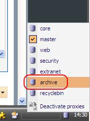 the Database icon located in the right side of the Desktop taskbar and selecting the archive option from the list of available