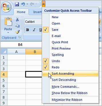 To Add Commands to the Quick Access Toolbar 1. Click the arrow to the right of the Quick Access toolbar. 2. Select the command you wish to add from the drop-down list.