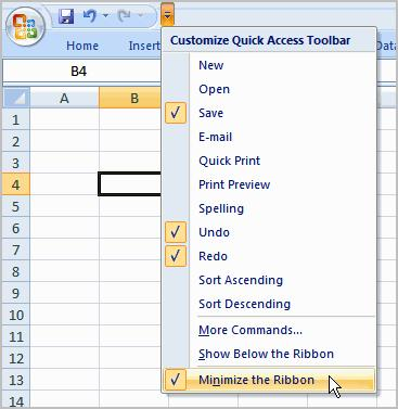 To Minimize and Maximize the Ribbon: 1. Click the drop-down arrow next to the Quick Access toolbar. 2.
