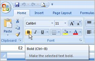 To Format Text in Bold or Italics 1. Left-click a cell to select it or drag your cursor over the text in the formula bar to select it. 2. Click the Bold or Italics command.