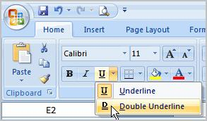 To Format Text as Underlined 1. Select the cell or cells you want to format. 2.
