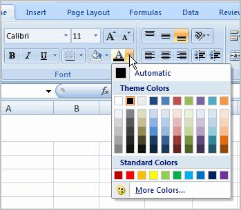 To Change the Text Color 1. Select the cell or cells you want to format. 2. Left-click the drop-down arrow next to the Text Color command.