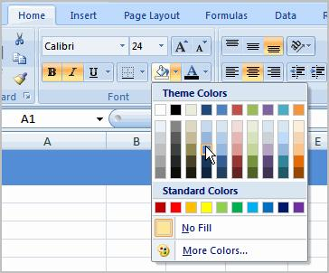 To add a Fill Color 1. Select the cell or cells you want to format. 2. Click the Fill command.