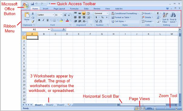 Exploring the Excel Environment The tabbed Ribbon menu system : It is