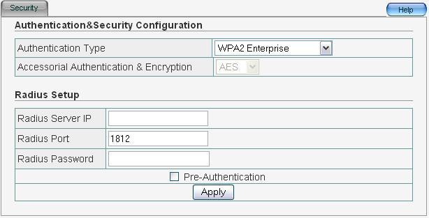 7 WPA2 Enterprise This security mode is used when a RADIUS server is connected to ZEW3003.