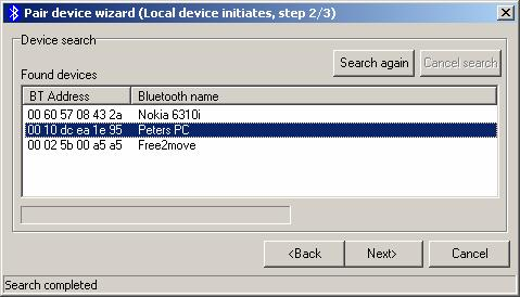 Pair device wizard The wizard allows the plug the option to either initiate pairing or accept to be paired by another Bluetooth device. Pick the appropriate and click Next to continue.