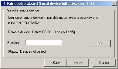 The pair device wizard continues with the last step, which shows the device status and prompts you to configure the remote device i.e., so that the pairing can continue.