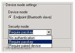 All settings related to configuring a device to accept connections (Bluetooth slave mode) are found under the Endpoint settings tab, whilst settings for configuring a device to connect other devices