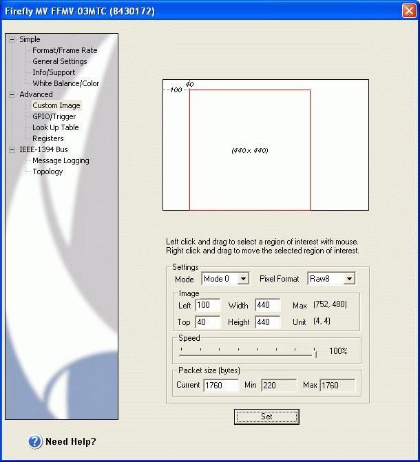 "Figure 15: Final parameters set in the ""Custom Image"". 15. RGB Values: In the FlyCap software, bring the mouse cursor over the ball and record the RGB values measured in the bottom right corner of the status toolbar, as shown in Figure 14, above."
