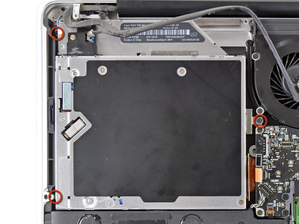 Step 11 Remove the three 3.5 mm Phillips screws securing the optical drive to the upper case.