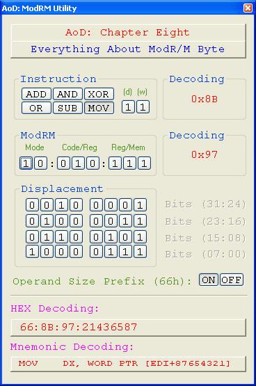 10.2. VIEW SOME EXAMPLES FOR MODRM BYTE 89 So the final decoding