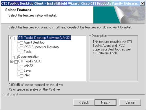 Cisco CTI Toolkit Desktop Client Component Installation Chapter 3 Release 7.0(0) CTI Toolkit Desktop Client Installation Select the CTI Toolkit Desktop Client components that you want to install.