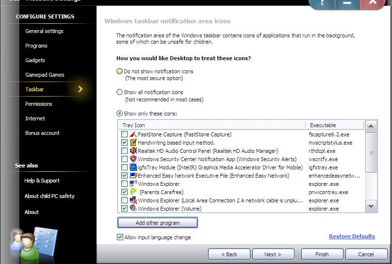Initialize Settings Change the settings of the existing account (Continued): 4)
