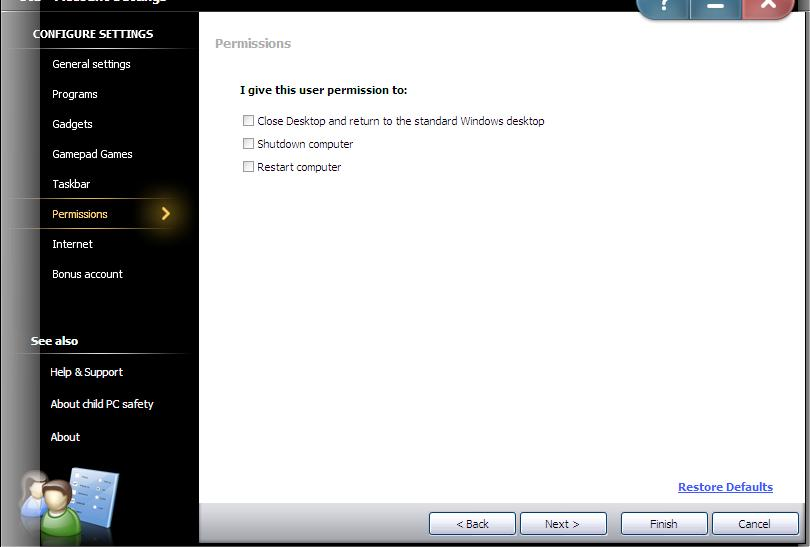 Initialize Settings Change the settings of the existing account (Continued): 5) Change the Permission settings: