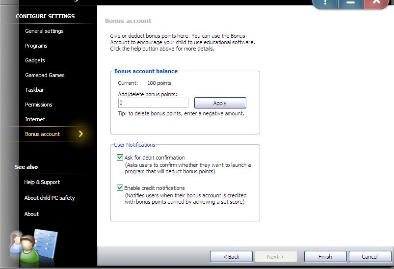 Change the settings of the existing account (Continued) 7) Change the Bonus settings: Step1: