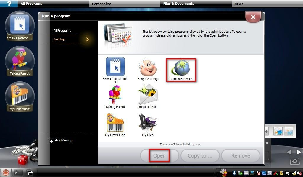 1.Inspirus Browser (Safe Internet: Continued) Key features Step1:Click All Programs on the