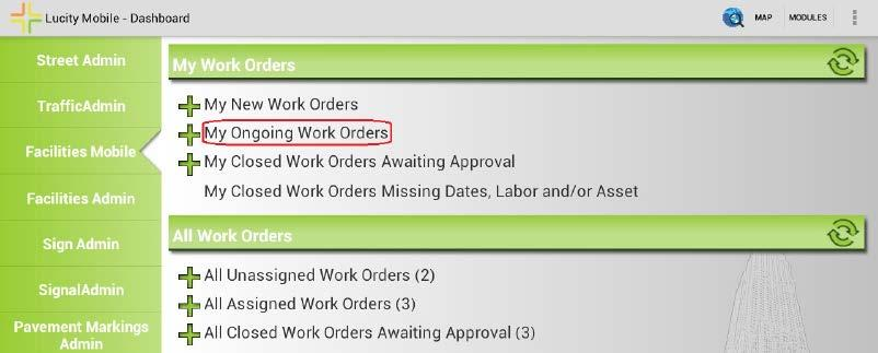 Navigate t and Update an Onging Wrk Order 1. Frm the tablet dashbard screen tap n the link fr My Onging Wrk Orders This will pen a view f all nging wrk rders currently assigned t yu.