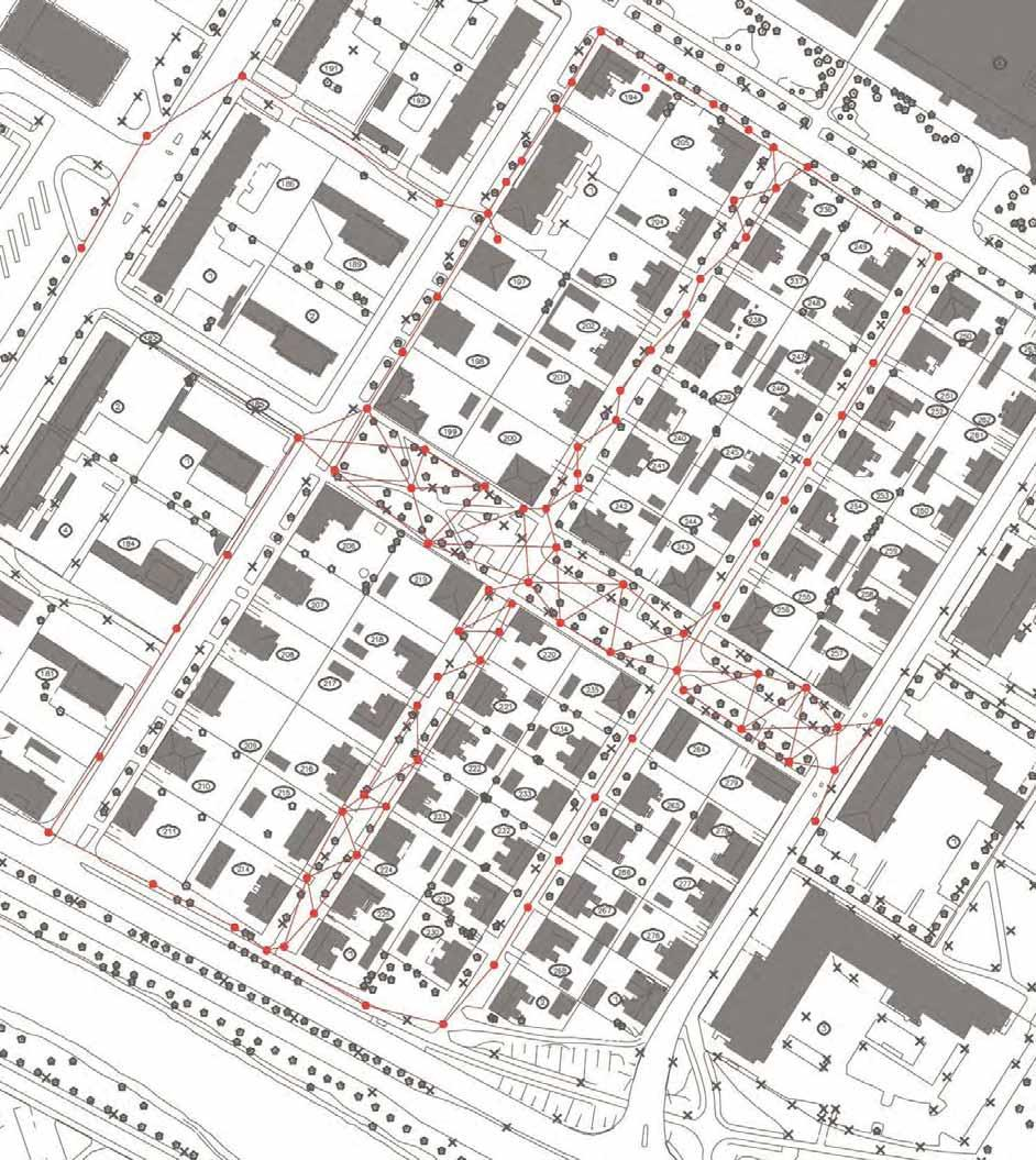 THE SURVEY PROJECT: scan positions and resolution of the point cloud 0 10 30 50 80 100 mt The survey of Raksila has involved the main streets of the area in order to get a general but detailed