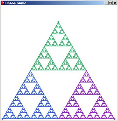 Chaos Game First 10 Points (ChaosGame ;Vertices of ;Equilateral Triangle 0.0 1.0 1.0 1.0 0.5 (- 1.0 (sin (/ pi 3.