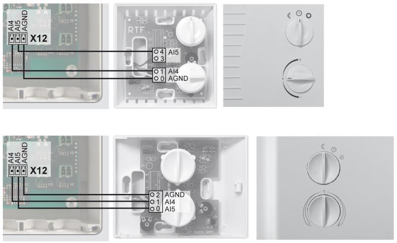 Room temperature setting (X12) If a room temperature switch is used to regulate floor heating, it must be connected with the module according to the following connector layout at X12.