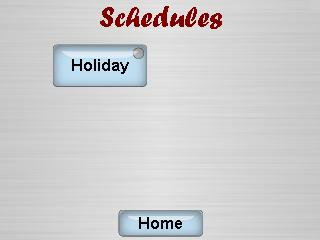 Scheduled Events The Scheduled events screen allows the user to enable scheduled events as programmed via the configuration software.
