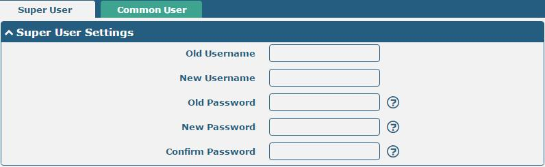 Super User Settings Old Username Enter the old username of your router. The default is admin. Null New Username Enter a new username you want to create; valid characters are a-z, A-Z, 0-9, @,.