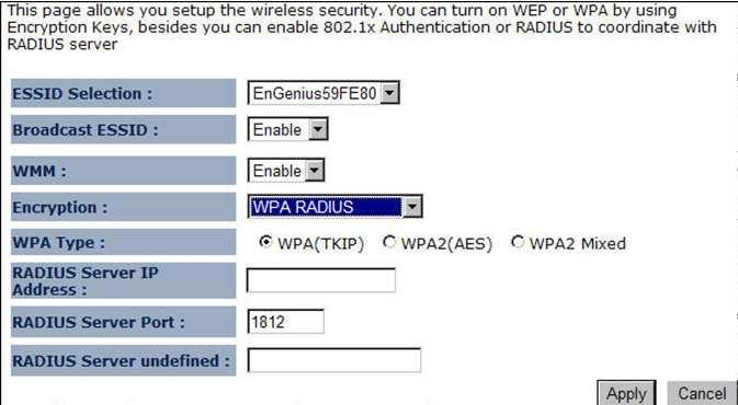 Broadcast SSID: Select Enable or Disable from the drop-down list. This is the SSID broadcast feature.