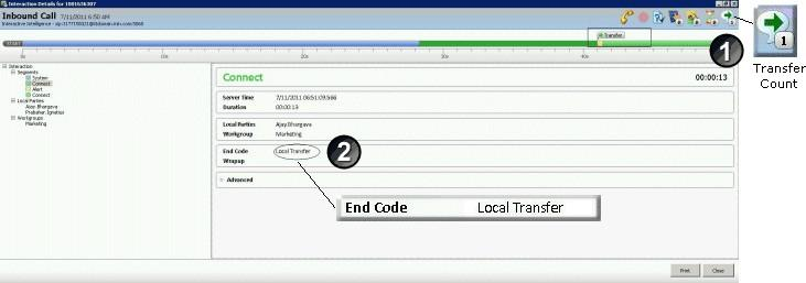 Transferred Interaction Example Call Transfers are another interaction scenario you can view Interaction Details about. Local and remote transfers can be examined in the Interaction Details dialog.