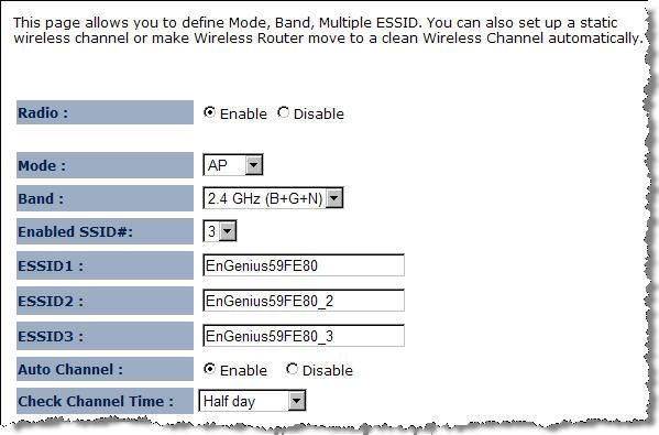 3.2.1.2. Basic Radio: To enable/disable radio frequency. Mode: Define AP in different modes.