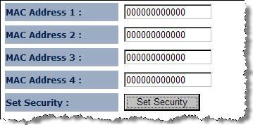 allowed to set MAC address and encryption algorithm (Please refer to 4.2.1.