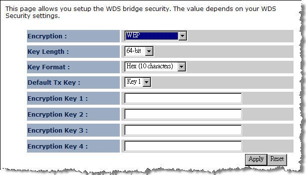 Security: WEP Key Length: Select a 64-bit or 128-bit WEP key length from the drop-down list. Key Format: Select a key type from the drop-down list.