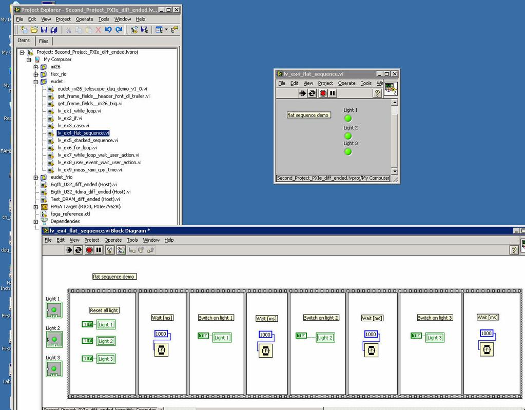 Jra1 Telescope Ni Flex Rio Daq Labview Demonstration Simple Circuit Board Rrcirkits Inc Home Page 66 Flat Sequence Run The Program By A Click Permanent Execution Button