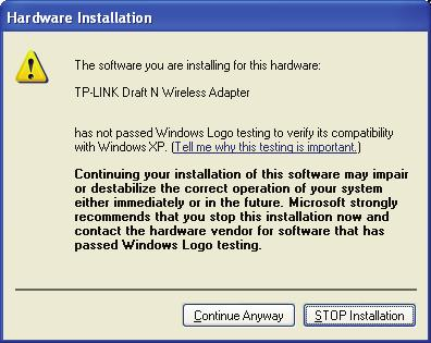 Figure 2-11 2) In Windows 2000, the warning screen is shown