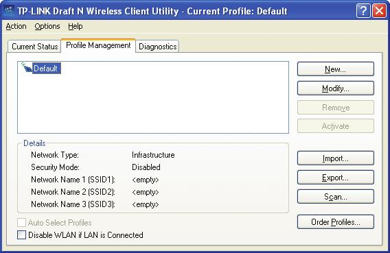 3.2 Profile Management Click the Profile Management tab of the 11NWCU and the next screen will appear (shown in Figure 3-2).