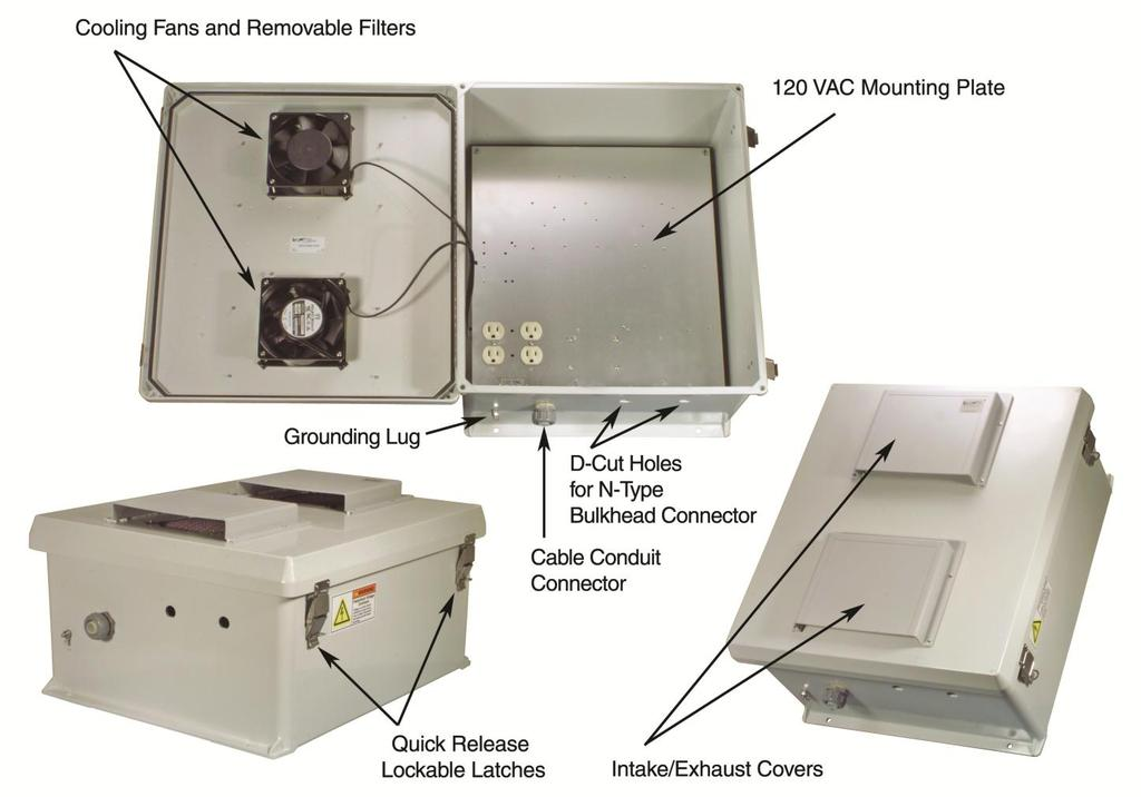 120 VAC 18x16x8 Inch Weatherproof Enclosure with Mounting Plate, Cooling Fans and Solid State Fan Controllers Model: NB181608-10FS Applications and Features Features: Molded Fiberglass Reinforced