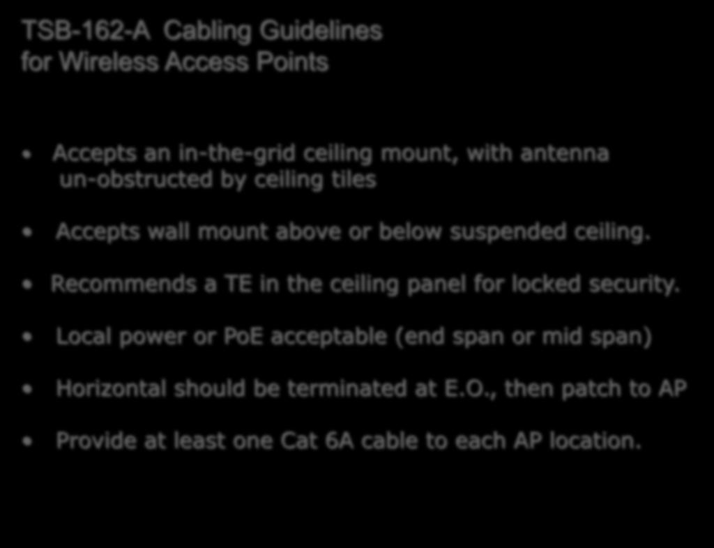 Wired For Wireless With Twisted Pair Cabling Bree Murphy Rcdd Oberon Wire Diagram Tsb 162 A Guidelines Access Points Accepts An In The