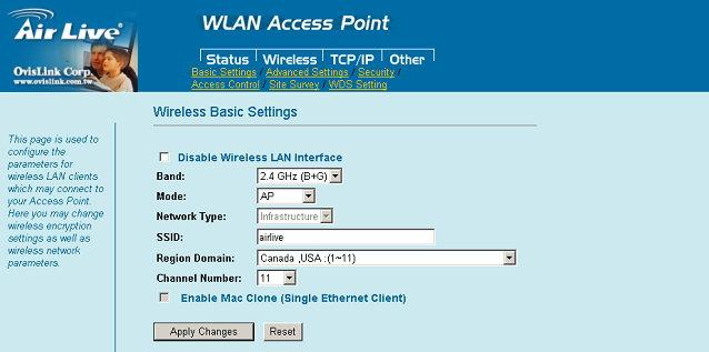 Wireless Basic Settings This page includes all primary and major parameters. Any parameter change will cause the device to reboot for the new settings to take effect.